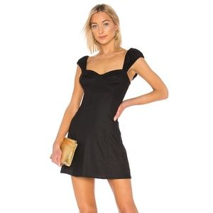 Black Fit & Flare Dress w/ Cap Puff Sleeves